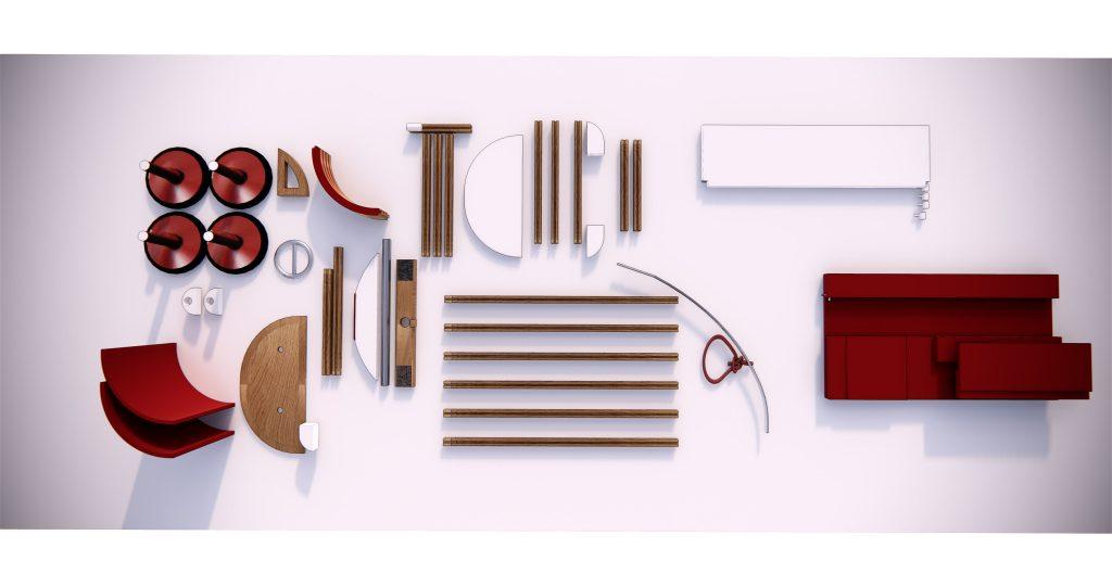 Le trolley rouge, Trolley, rouge, matériaux, matière, voiturette, jouet, bois, démontable, ajustable, designer, designer produit, Frédéric TABARY, TABARY