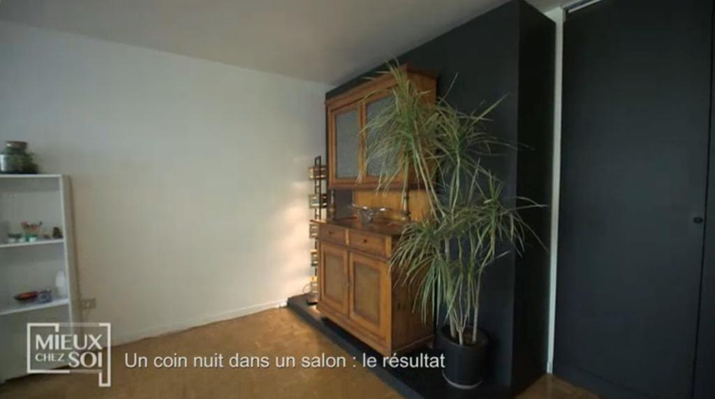 Cloison amovible/lit «Mieux chez soi» 2 juillet 2019 vue de profil de la cloison fermée
