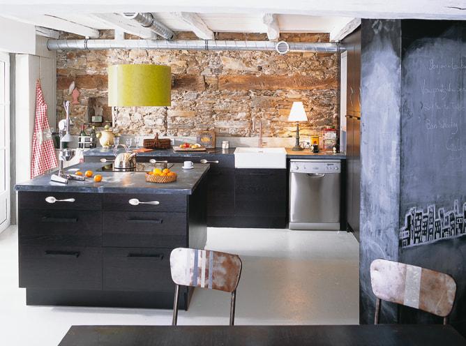 Cuisine  avec un plateau le zinc en décoration une matière étonnante